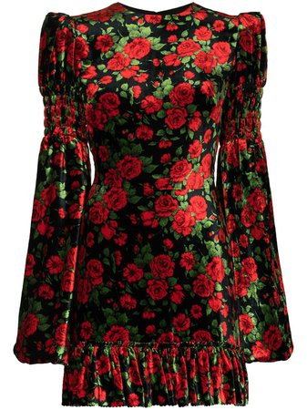 The Vampire's Wife Carline Rose printed velvet mini dress black DR252PRINTEDVELVETCARLINEROSE - Farfetch