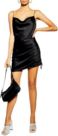 Ruched Satin Mini Slip Dress