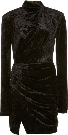 Redemption Velvet Draped Mini Dress High Neck