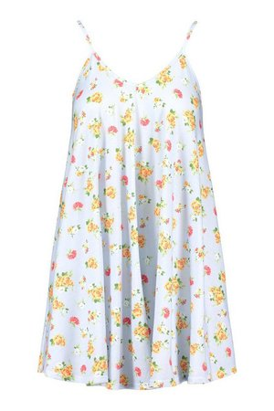 Floral Print Strappy Swing Dress | boohoo blue