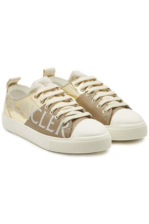 Moncler Linda Patent Leather Sneakers - gold