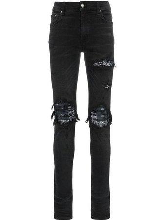 Amiri MX1 distressed bandana detail slim fit jeans