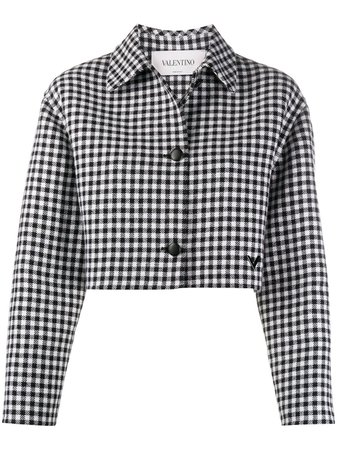 Valentino Cropped Check Pattern Jacket - Farfetch
