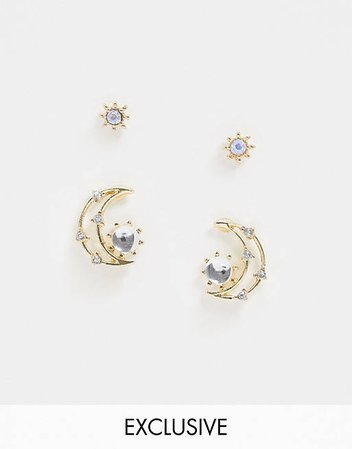 Reclaimed Vintage inspired star and moon earring pack | ASOS