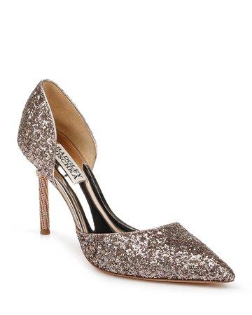 Badgley Mischka Ozara Glitter Pumps   Neiman Marcus