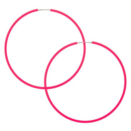 60MM Neon Hoop Earrings - Pink | Claire's