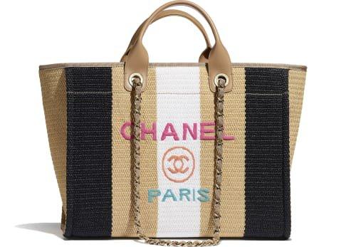 Bolso shopping, viscosa, algodón, piel de ternera y metal dorado, beige, negro y marfil - CHANEL