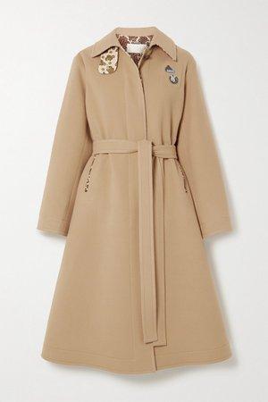 Beige Embellished belted virgin wool and cashmere-blend coat   Chloé   NET-A-PORTER
