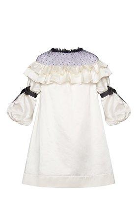 Marianna Senchina Mesh Shoulder Ruffled Mini Dress