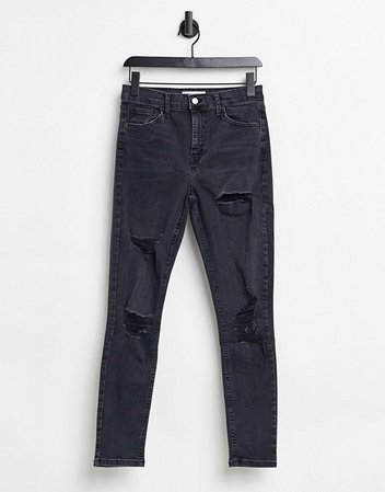 Topshop Jamie super rip skinny jeans in washed black | ASOS