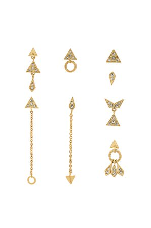 The Pave Kite Mixed Earring Set