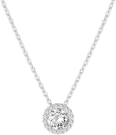 Diamond Round Solitaire Pendant Halo Necklace