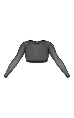 Black Sheer Mesh High Neck Long Sleeve Top | PrettyLittleThing