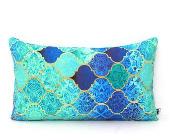 Turquoise Mermaid Moroccan Pillow Cover All Sizes | Etsy