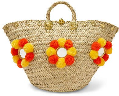Muzungu Sisters - Sicilian Pompom-embellished Wicker Tote - Orange