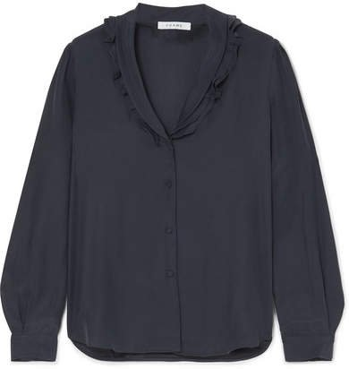 Lettuce Collar Ruffled Washed-silk Blouse - Navy