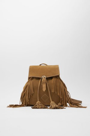 LEATHER BACKPACK WITH FRINGING | ZARA Thailand