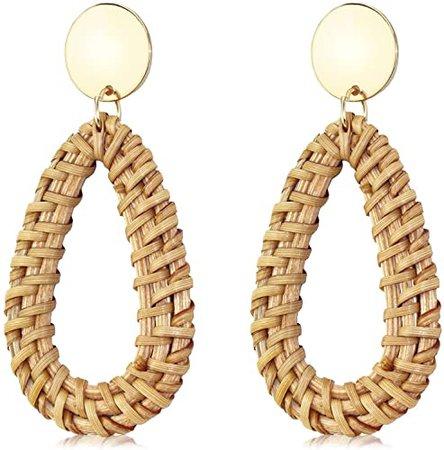 Suyi Rattan Earrings for Women Handmade Straw Wicker Braid Earrings Lightweight Drop Dangle Statement Earrings Drop: Amazon.co.uk: Jewellery