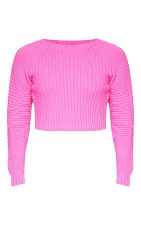 Neon Pink Cropped Rib Knit Jumper   Knitwear   PrettyLittleThing USA