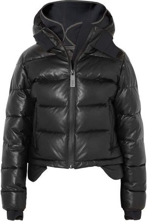 TEMPLA - Hooded Tech-jersey And Quilted Leather Down Jacket - Black