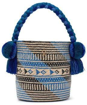 Safira Embellished Straw Bucket Bag