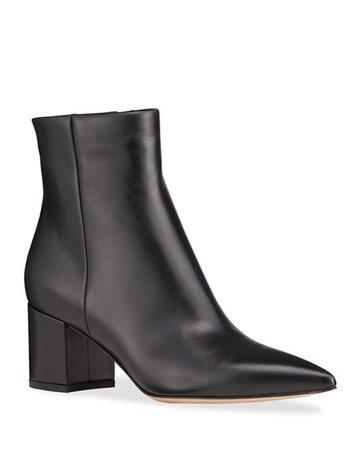 Tory Burch Lila 90mm Leather Zip Booties | Neiman Marcus