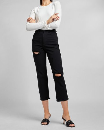 Super High Waisted Black Ripped Straight Jeans