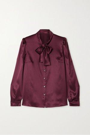 Plum Pussy-bow silk-satin blouse | Dolce & Gabbana | NET-A-PORTER