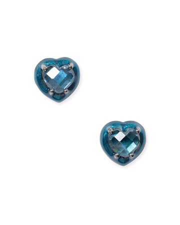NAKARD Mini Enameled Teal Heart Stud Earrings