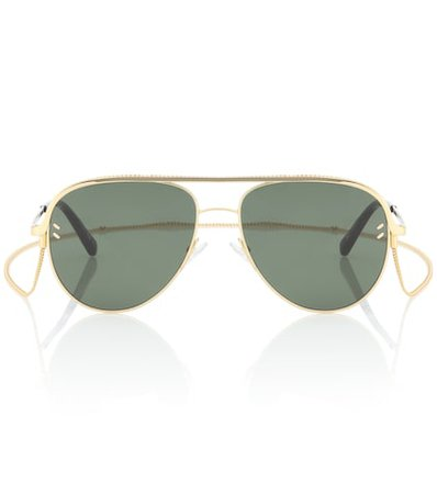 Aviator sunglasses with chain