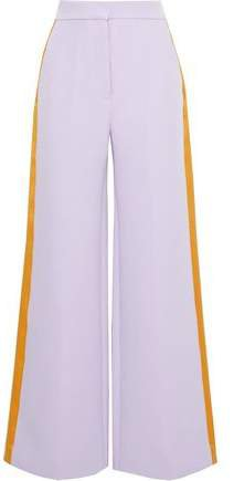 Satin-trimmed Crepe Wide-leg Pants
