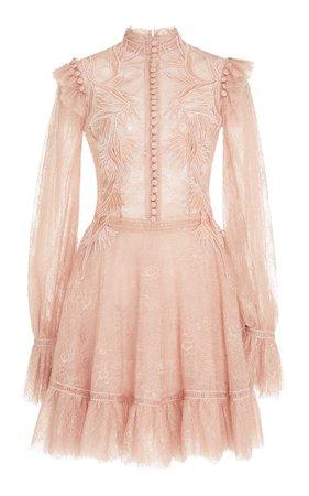 Costarellos Chantilly Lace Short Dress