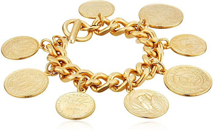 Amazon.com: Ben-Amun Jewelry Moroccan Coin Charms Jewelry 24K Gold Plated Vintage Fashion Womens, Hand Made in New York, USA, Eastern Coin Bracelet, One Size (50402): Jewelry