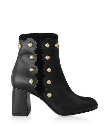 Red Valentino Black Leather And Suede Studded Boots