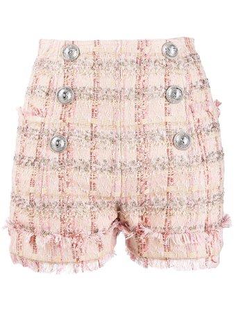 Balmain Double Breasted Pink Shorts | Farfetch.com