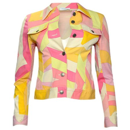 Emilio Pucci Multicolor Cotton Jacket sz 6 For Sale at 1stdibs