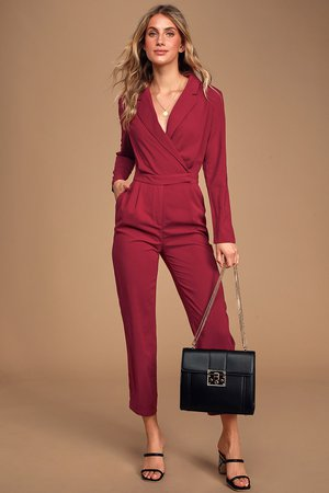 Chic Collared Jumpsuit - Long Sleeve Jumpsuit - Burgundy Jumpsuit