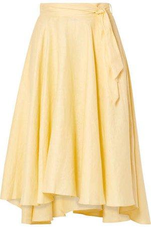 Gale Linen Midi Skirt - Pastel yellow