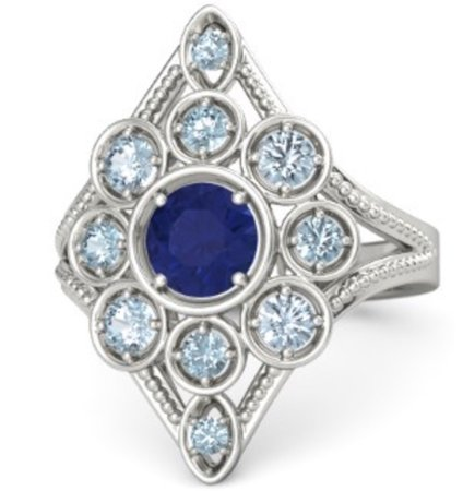 blue navy diamond silver ring