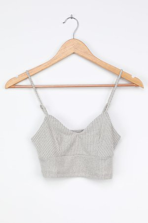 Heather Grey Ribbed Cami - Cropped Cami Top - Grey Bralette