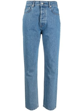 Shop blue Nanushka high-waisted straight-leg jeans with Express Delivery - Farfetch