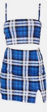 Plaid Blue And White Skirt Set