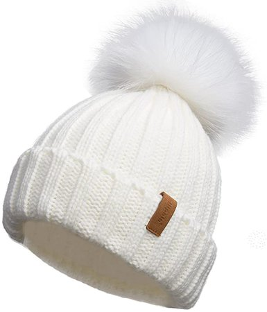 Pilipala Women Winter Knitted Beanie Hat with Fur Pom Bobble Hat Skull Beanie(White) at Amazon Women's Clothing store