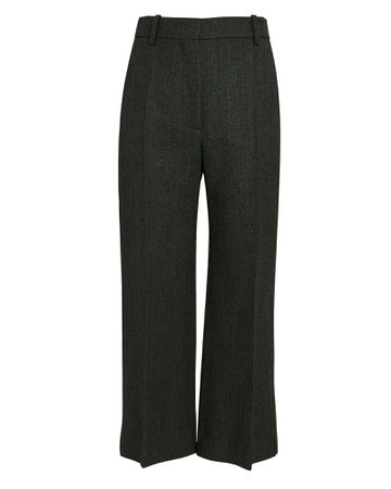 Victoria Beckham Pintuck Cropped Flare Trousers | INTERMIX®