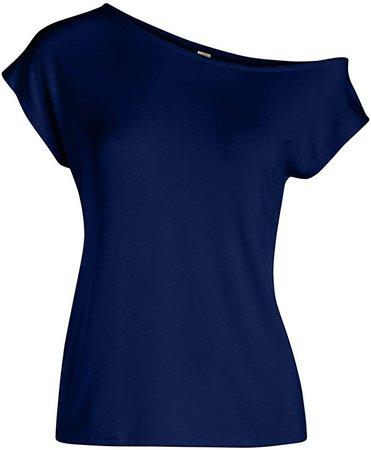 Dark-Blue Off-Shoulder Top