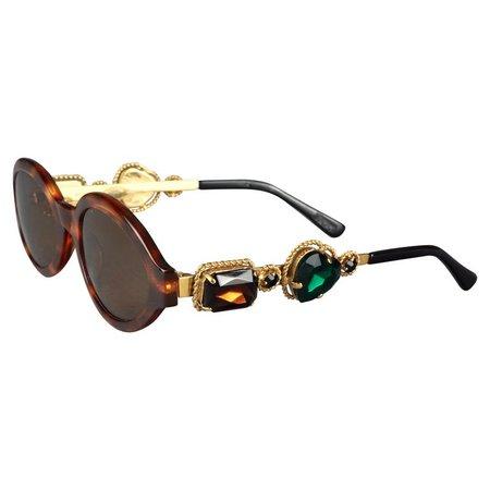 Vintage MOSCHINO Jeweled Tortoiseshell Sunglasses For Sale at 1stDibs