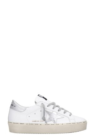 Golden Goose Hi Star Sneakers In White Leather