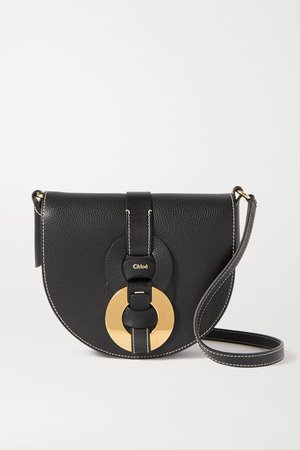 Black Darryl small textured-leather shoulder bag | Chloé | NET-A-PORTER