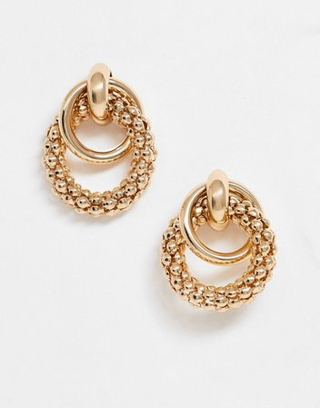 ASOS DESIGN earrings in linked sleek and textured circles in gold tone | ASOS