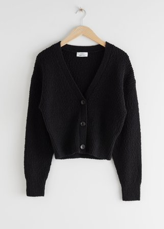 Cropped Textured Cotton Cardigan - Black - Cardigans - & Other Stories